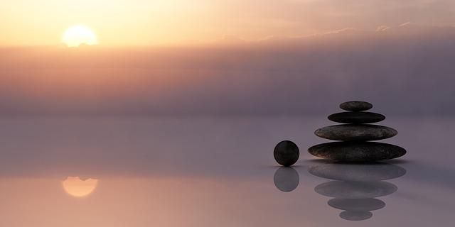kameny, západ slunce