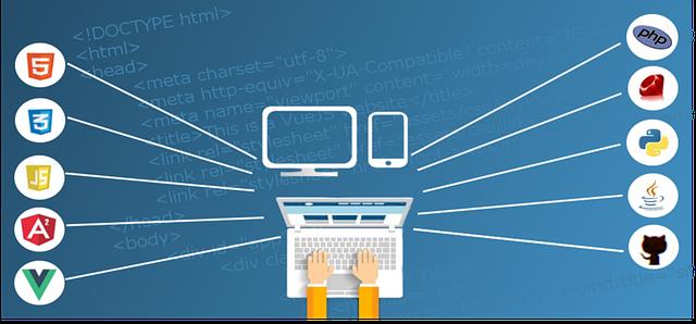 notebook, počítač, mobil, loga