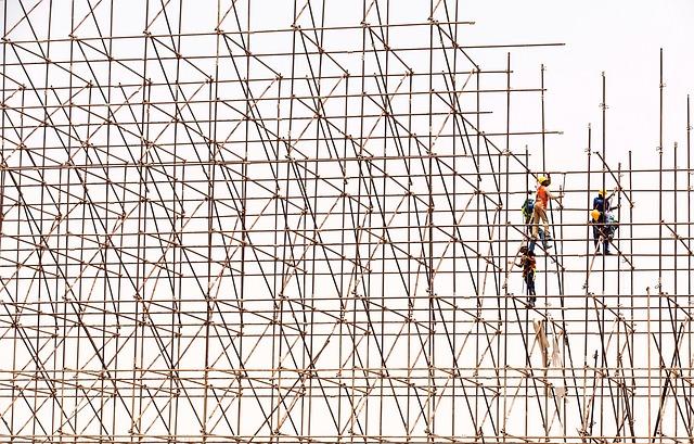 lešení, konstrukce, dělníci