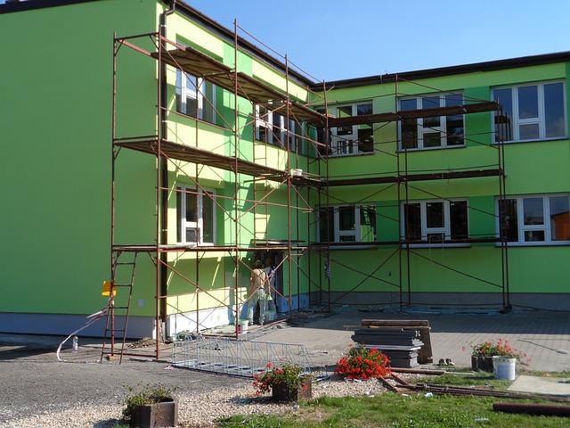 zelenný dům, lešení