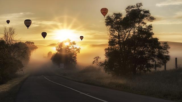 slunce, stromy, balony