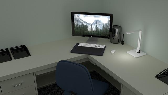 rohový stůl, počítač, židle, kancelář