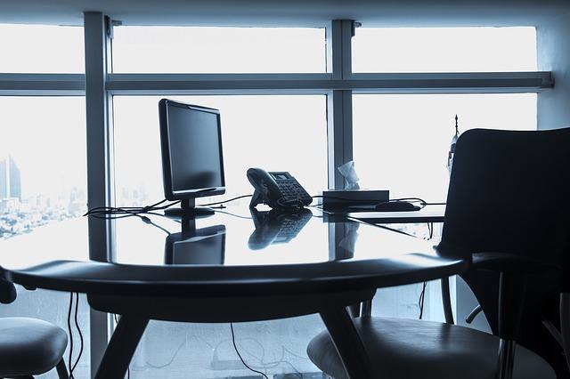 obrazovka, telefon, stůl, kancelář