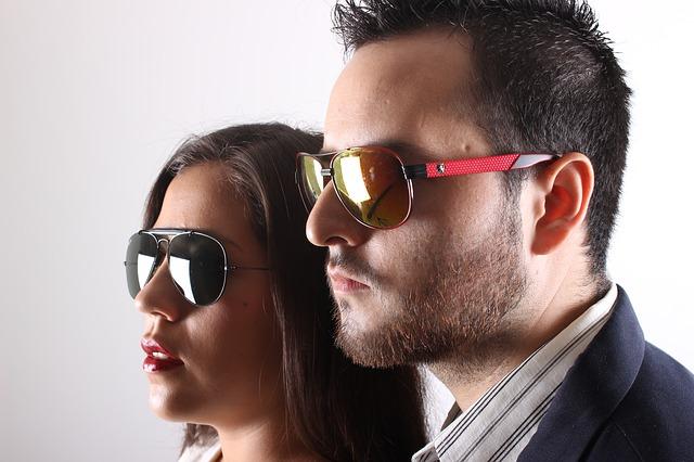 muž, žena, sluneční brýle
